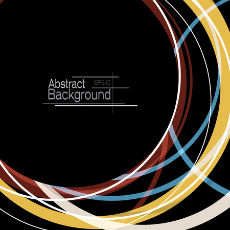 Abstract minimal geometric round circle shapes design black background with copy space Illustration