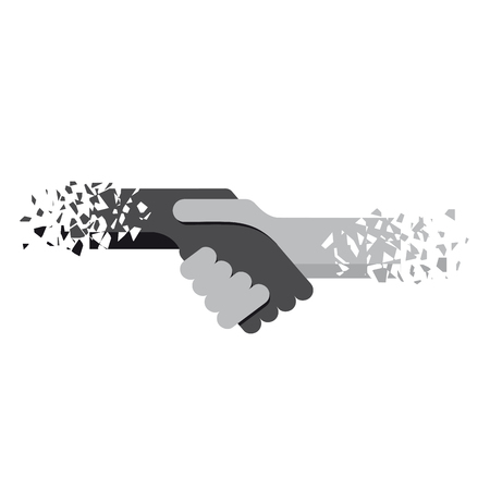 Vector logo handshake, no apartheid. Flat design in broken sketch style
