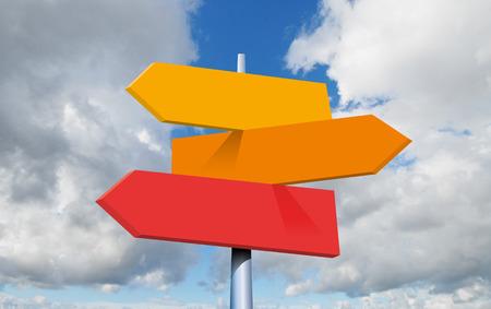 opzioni di destinazioni di viaggio. Segnale stradale di direzione con le frecce sul cielo e sulle nuvole