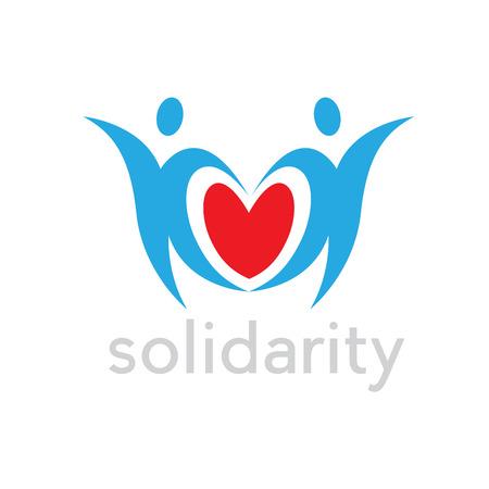 Zwei Menschen um ein Herz. Konzept von Solidarität, Liebe und Frieden