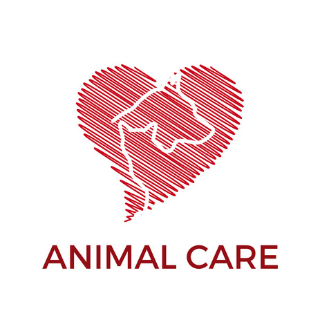 Vector logo to love and to care dog and cat. Silhouette of animals inside a heart