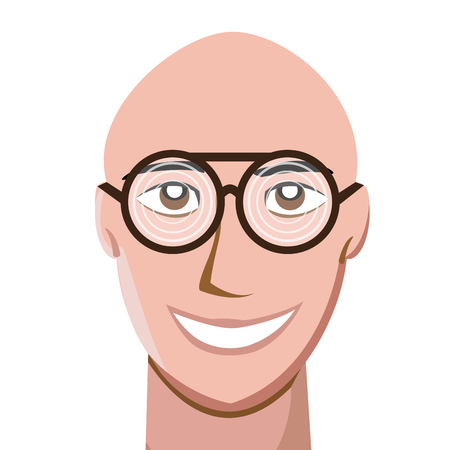 Portrait of happy bald man wearing thick spectacles and looking at camera. Vector illustration Vetores