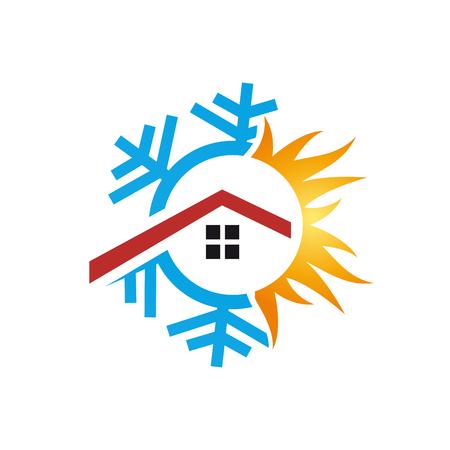 Logo vectoriel chauffage et refroidissement domestique. Illustration abstraite Logo