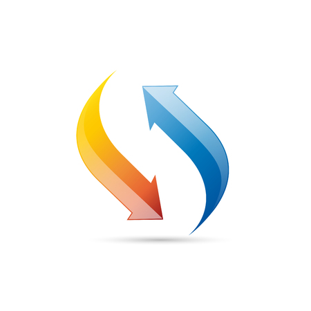 Vector logo domestic heating and cooling. Abstract illustration