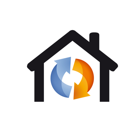 Vector logo domestic heating and cooling. Abstract illustration Vettoriali