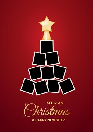 Árbol de Navidad con fotos vacías, espacio para insertar imágenes. Ilustración vectorial