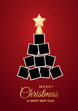 Albero di Natale con foto vuote, spazio per inserire immagini. Illustrazione vettoriale
