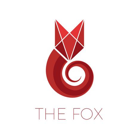 Red fox, in simple geometric shape. Illustration