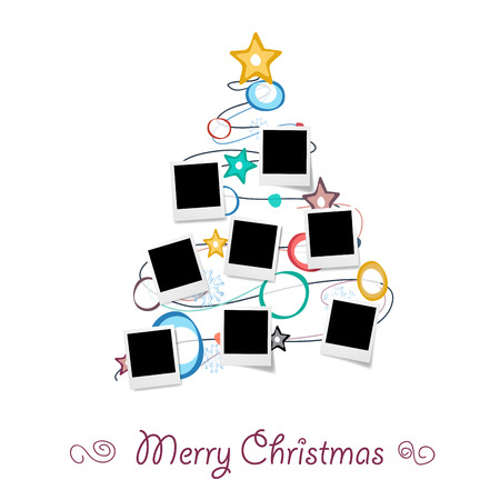 Christmas tree with photos, blank frames. Vetores