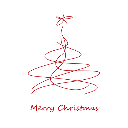 Merry Christmas postcard, scribble of abstract tree