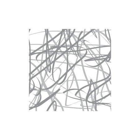 Vector , scribble of a wool clew. Confusion of lines inside a square frame Ilustração