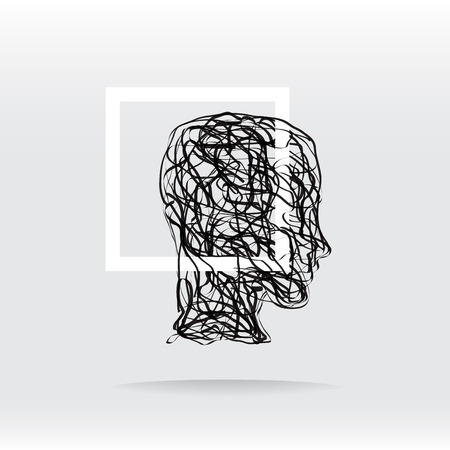 Concept confusion in the head, inside a square frame