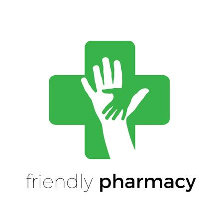 Pharmacie conviviale de logo vectoriel avec les mains