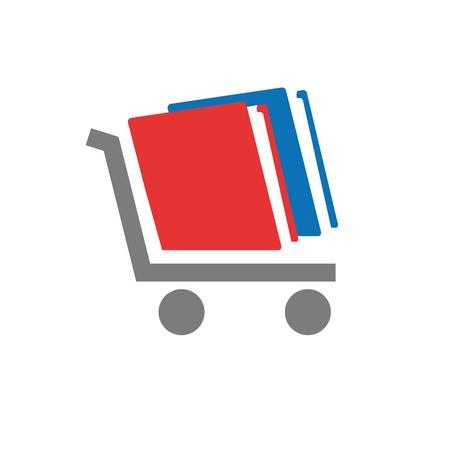 Vector logo bookstore, book on cart