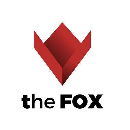 Logotipo vectorial de un zorro rojo, en forma geométrica simple. Concepto de astucia