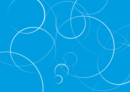 Abstract minimal geometric round circle shapes design background in blue, copy space