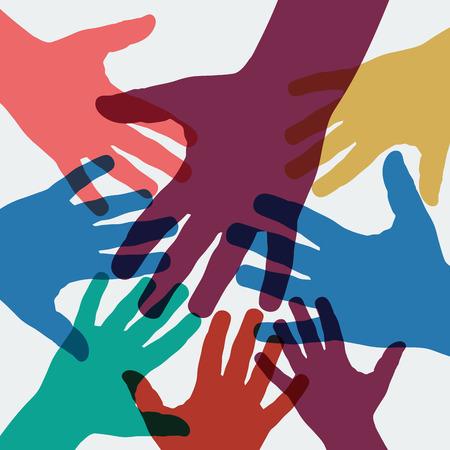 Vektorhintergrund-Teamwork, Hände gekreuzt Vektorgrafik