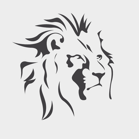 Black lion in white Ilustração