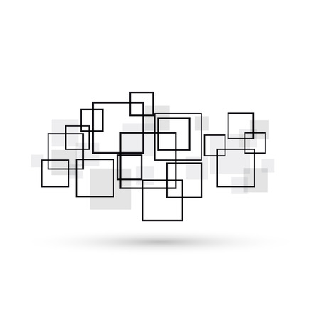 Vector concept of network, geometric black shapes in white background