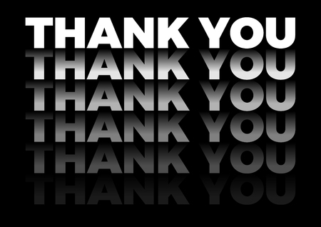 the word thank you in repetitive form, vector text in black background