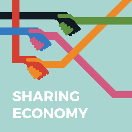 Sharing economy concept illustration. Handshake vector icon