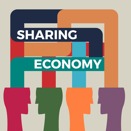 Sharing economy concept illustration. Human head vector icon