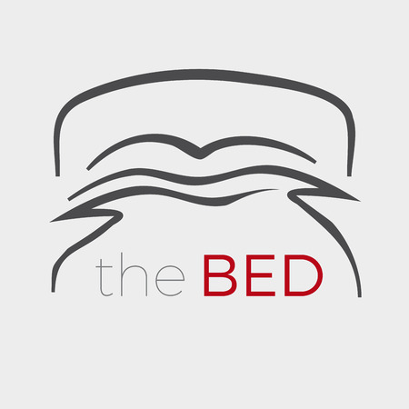 Vector sign stylized bed with pillows and duvet Illustration