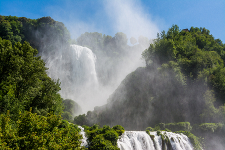 Marmore falls, Cascata delle Marmore, in Umbria, Italy. The tallest man-made waterfall in the world. Imagens