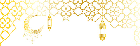 Ramadan kareem greeting template islamic crescent and arabic lantern. Vector illustration moon and stars, background