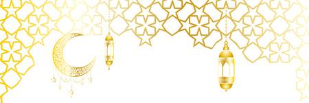 Ramadan kareem greeting template islamic crescent and arabic lantern. Vector illustration moon and stars, background