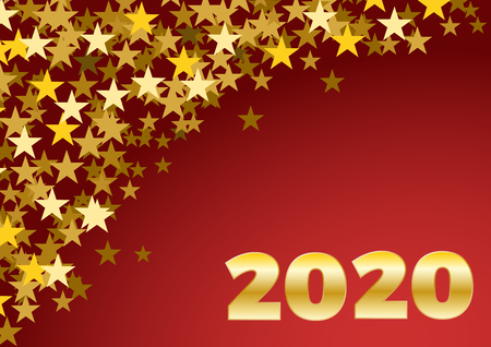 2020 Happy New Year celebrate card with holiday greetings and golden stars