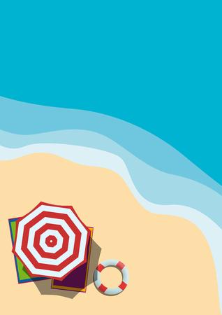 Vacanze estive, fondo piatto verticale vettoriale. Veduta aerea di una spiaggia con ombrellone Vettoriali
