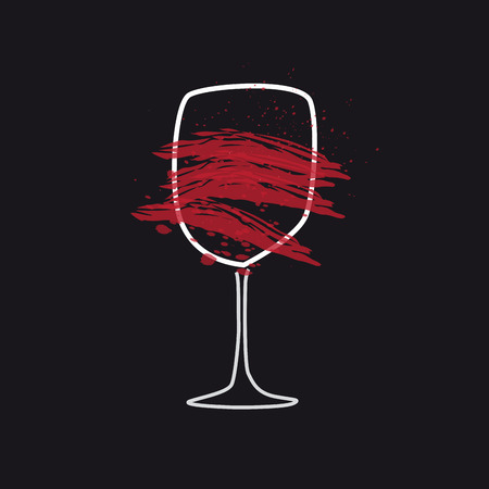 Abstract glass of wine, drawing with lines