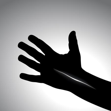 Injured hand. Transparent cut, concept of despair