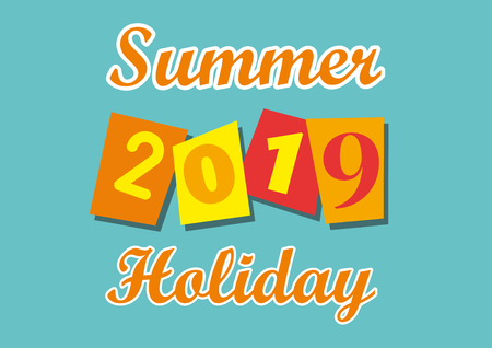 2019 summer holiday, vector illustration for poster, cover and flyer Ilustração