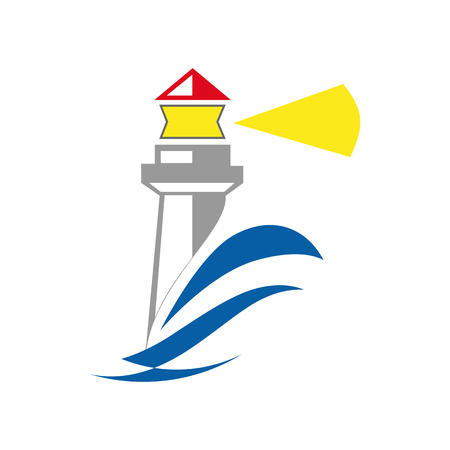 Simple  lighthouse on white Vectores