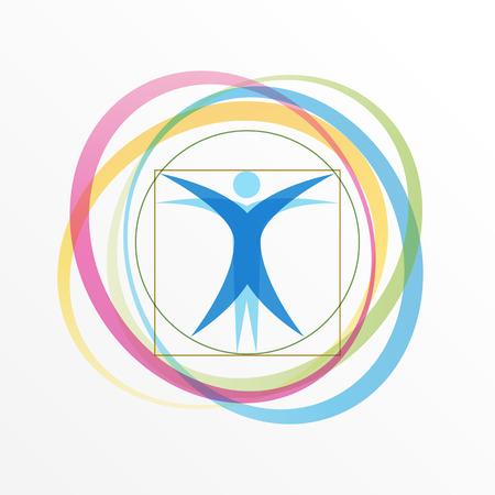 Hombre de Vitruvio estilizado simple con anillos en órbita Ilustración de vector