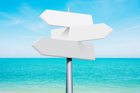 summer travel destinations options. Direction road sign with arrows on beach and sea