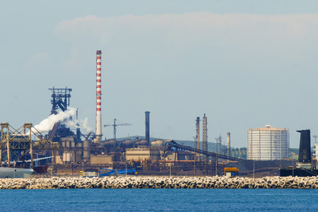 The port of Piombino with coal deposits and an industry that produces steel