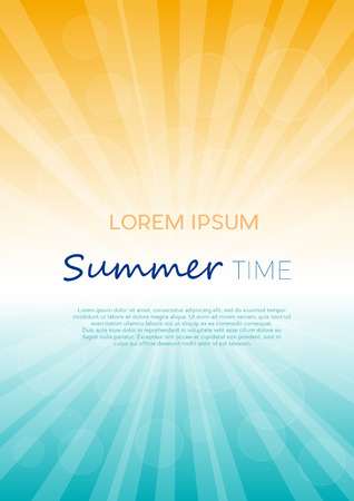 Summer time background with text. Vertical vector illustration of a glowing sky. Poster with copy space 向量圖像