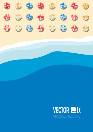 Summer concept, vector background for poster. Beach and sea with umbrella,  flat view Иллюстрация