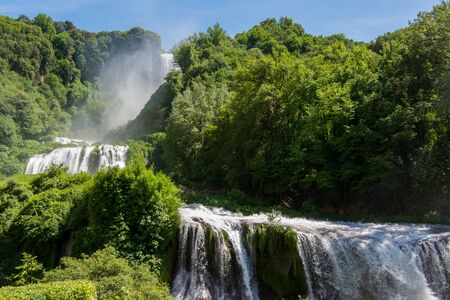 Marmore falls, Cascata delle Marmore, in Umbria, Italy. The tallest man-made waterfall in the world. Stock Photo