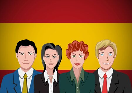 Spanish people,  ahead of the flag. Portrait of teamwork in flat design. Vector cartoon Stock Illustratie