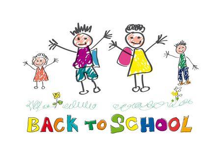 Back to school. Children in front of the school.