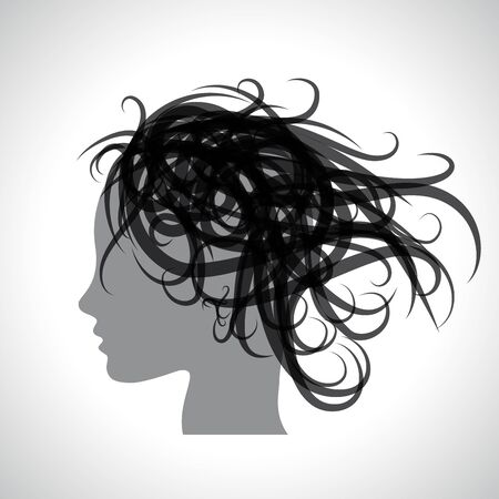 Woman with messy and disheveled hair