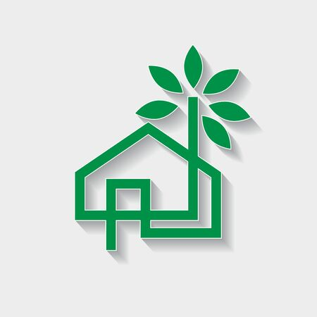 Vector sign eco-house, ecological home with green leaves