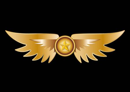 Crest star shield with golden wings Ilustrace