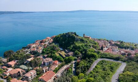 Aerial view of Trevignano Romano, on Bracciano lake, near Rome. Italy Imagens