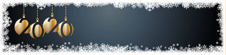 2020 New Year header background. Frame made snowfall and ice crystals, banner Ilustração