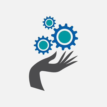 Vector logo Service. Hand with gears, toothed wheels